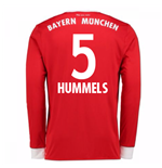 2017-18 Bayern Munich Home Long Sleeve Shirt (Kids) (Hummels 5)