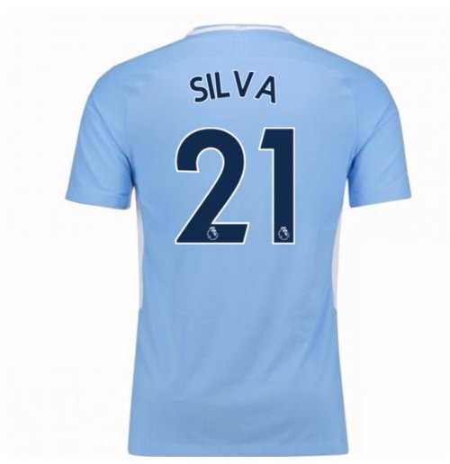 2017-18 Man City Home Shirt (Silva 21)