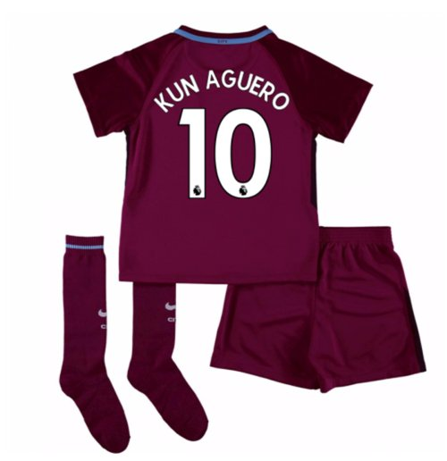 2017-18 Man City Away Mini Kit (Kun Aguero 10)