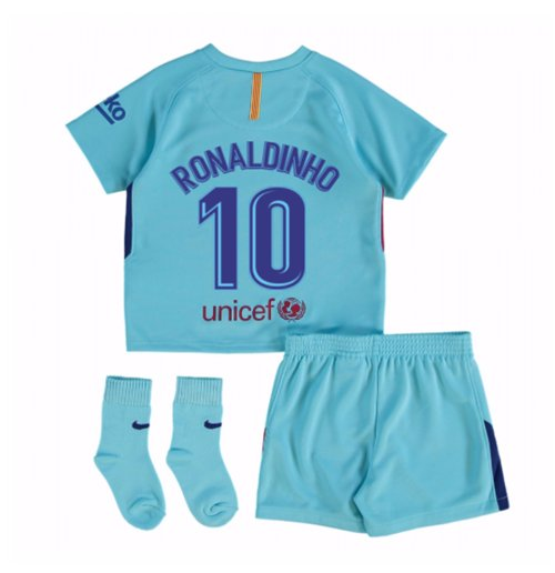 2017-2018 Barcelona Away Baby Kit (Ronaldinho 10)
