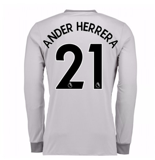2017-2018 Man United Long Sleeve Third Shirt (Ander Herrera 21) - Kids