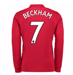 2017-2018 Man United Long Sleeve Home Shirt (Beckham 7)