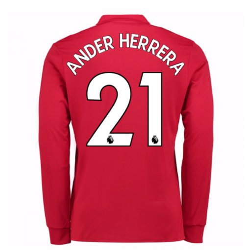 2017-2018 Man United Long Sleeve Home Shirt (Ander Herrera 21)