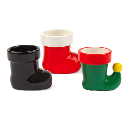 Christmas Elf Santa Boot Shot Glass Set