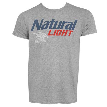 NATURAL LIGHT Classic Logo Grey Tee Shirt