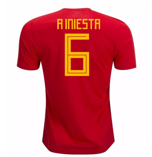 2018-19 Spain Home Shirt (A Iniesta 6)