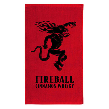 FIREBALL WHISKEY Devil Logo Red Beach Towel