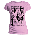 One Direction Ladies Tee: Silhouette Lyrics Black on Pink with Skinny Fitting