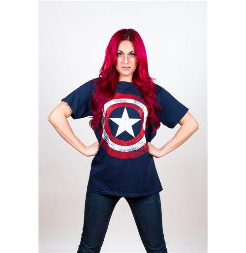 Captain America Distressed Shield Marvel Comics Tee