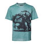 POKEMON Men's Venusaur Oil Washed T-Shirt, Small, Turquoise