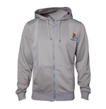 SONY Playstation Men's PS One Full Length Zipper Hoodie, Extra Large, Grey