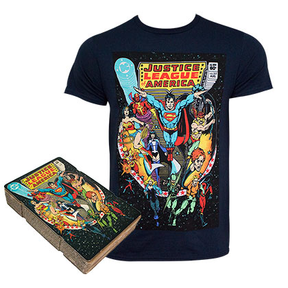 JUSTICE LEAGUE Comic Cover Boxed Black Tee Shirt