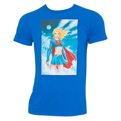 SUPERGIRL Comic Panel Blue Tee Shirt