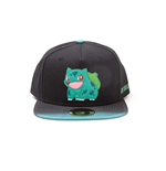 POKEMON Bulbasaur Rubber Patch Snapback Baseball Cap with Dip Dye Brim, Multi-colour
