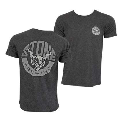 STONE BREWING CO. Horn Logo Grey Tee Shirt