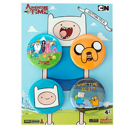 ADVENTURE TIME 4 Pack Button Set