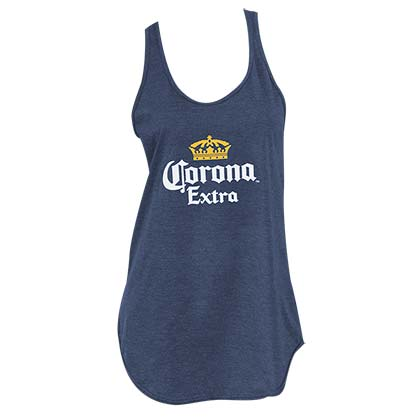 CORONA EXTRA Navy Blue Racerback Navy Blue Ladies Tank Top