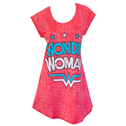WONDER WOMAN Heather Red Ladies Night Shirt