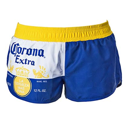 CORONA EXTRA Label Design Women's Blue Swim Board Shorts