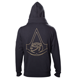 ASSASSIN'S CREED Origins Men's Gold Crest Logo Double Layered Full Length Zipper Hoodie, Extra Large, Black