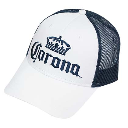 CORONA EXTRA Blue and White Mesh Snapback Hat