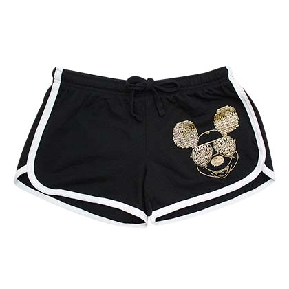 Mickey Mouse Gold Foil Women's Black Beach Shorts