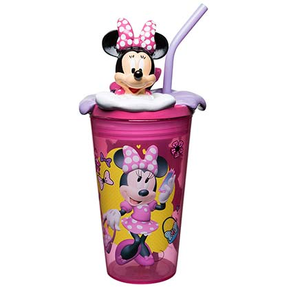 Minnie Mouse Plastic Tumbler With Straw