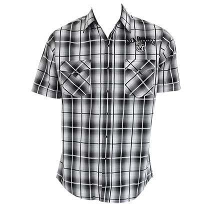 JACK DANIELS Short Sleeve Button Down Plaid Shirt