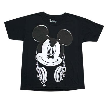 Mickey Mouse Headphones Youth Boys Black Tee Shirt