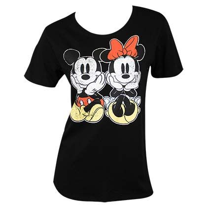 Mickey And Minnie Mouse Distressed Ladies Black Tee Shirt