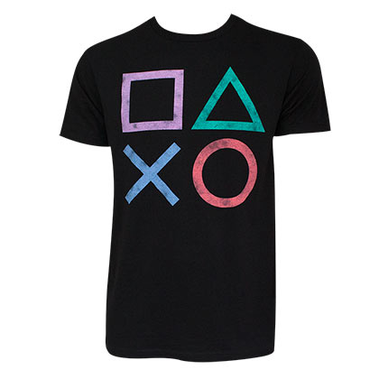 PLAYSTATION Controller Button Logo Black Tee Shirt