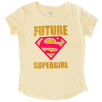 SUPERMAN Future Supergirl Youth Girls Yellow Tee Shirt