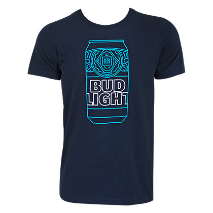 BUD LIGHT Neon Beer Can Navy Blue Tee Shirt