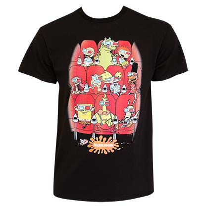 NICKELODEON 90's Nicktoon Movie Theater Black Tee Shirt