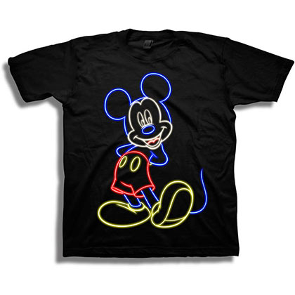 Mickey Mouse Neon Youth Black Tee Shirt