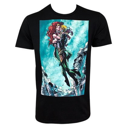 AQUAMAN and Mera Kissing Black Tee Shirt