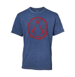 ASSASSIN'S CREED Men's Crest Logo Faux Denim T-Shirt, Extra Large, Blue