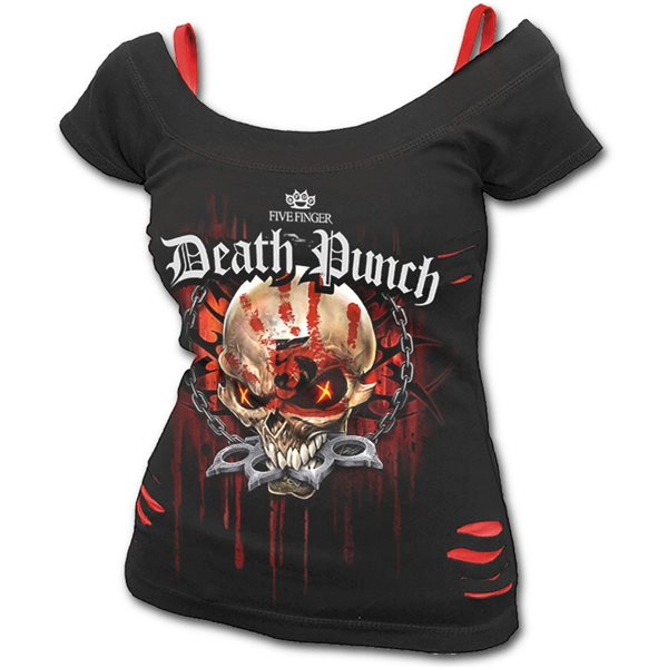 5fdp - Assassin - Licensed Band 2in1 Red Ripped Top Black