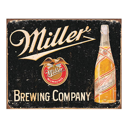 MILLER Brewing Company Vintage Tin Sign