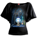 The Witches Aprentice - Boat Neck Bat Sleeve Top Black Plus Size