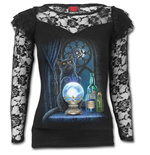The Witches Aprentice - Lace Layered Long Sleeve Top Black