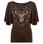 Horned Spirit - Boat Neck Bat Sleeve Top Chocolate Plus Size