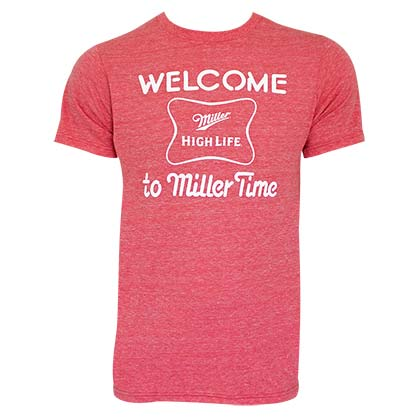 MILLER High Life Retro Brand Welcome To MILLER Time Red Tee Shirt