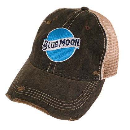 BLUE MOON Retro Brand Brown Mesh Mens Trucker Hat