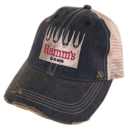 HAMM'S Beer Logo Retro Brand Mens Brown Mesh Trucker Hat