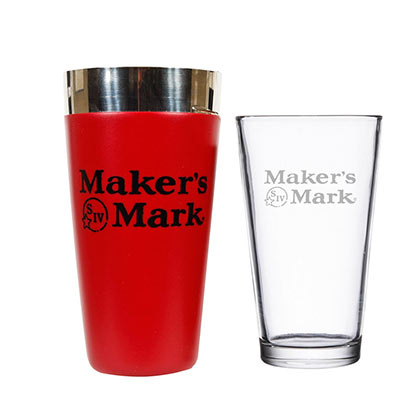 MAKER'S MARK Stainless Steel Boston Cocktail Shaker Glass Set