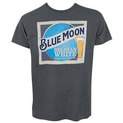 BLUE MOON Label Logo Design Heather Charcoal Gray Men's T-Shirt