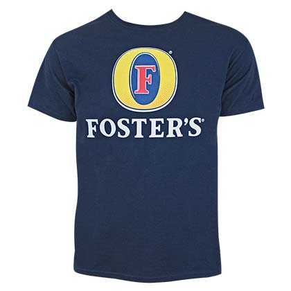 FOSTER'S Beer Logo Men's Dark Navy Blue Tee Shirt