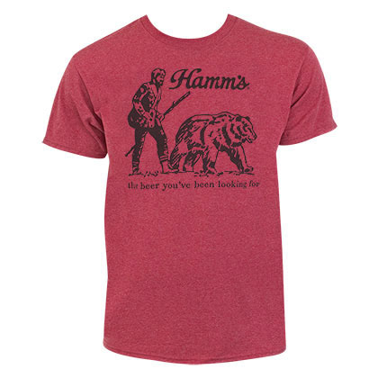 HAMM'S Beer You've Been Looking For Bear Men's Heather Red Tee Shirt