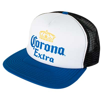 Corona Mesh Back White and Blue Trucker Hat